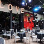 1 courtyard-love-lights-light-up-letters-black-balloons-lanterns-angel-laura-devine-bride-goth-wedding