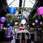 1 islington-metal-works-alternative-wedding-venue-colour-pop-lanterns-bunting-oscars-flamingo