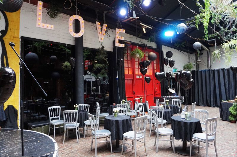 1 courtyard-love-lights-light-up-letters-black-balloons-lanterns-angel-laura-devine-bride-goth-wedding