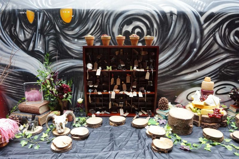 11 goth-wedding-curious-table-curiosities-wish-tree-cheese-table-laura-devine-bride-planner-tasker