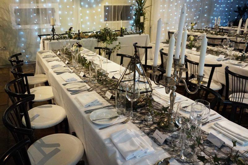 15 wedding-breakfast-dining-room-meal-trestle-tables-black-wedding-goth-terrarium-laura-devine-planner