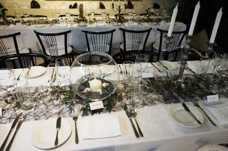 17 wedding-breakfast-dining-room-meal-trestle-tables-black-wedding-goth-terrarium-laura-devine-planner