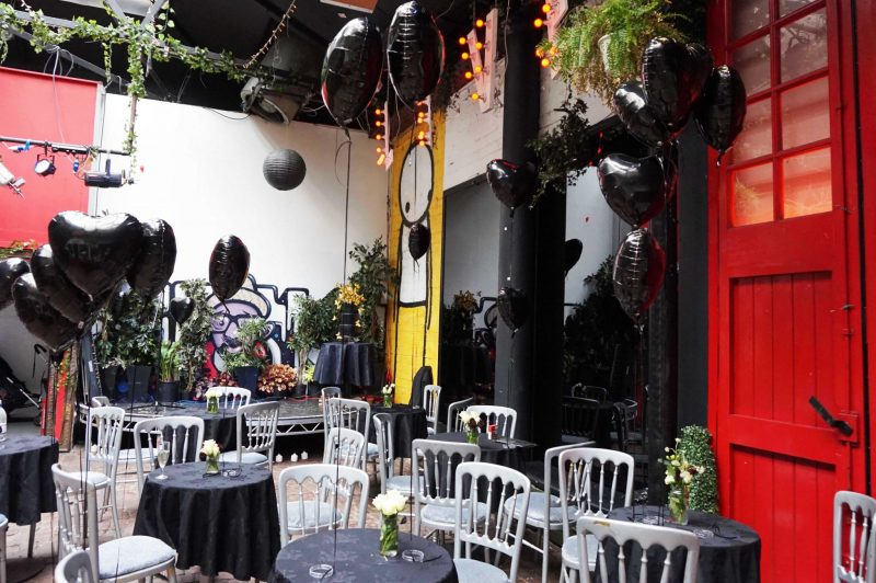 2 courtyard-love-lights-light-up-letters-black-balloons-lanterns-angel-laura-devine-bride-goth-wedding