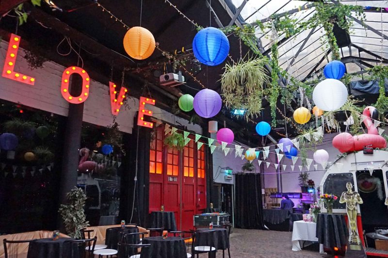 2 islington-metal-works-alternative-wedding-venue-colour-pop-lanterns-bunting-oscars-love-lights-light-up-letters