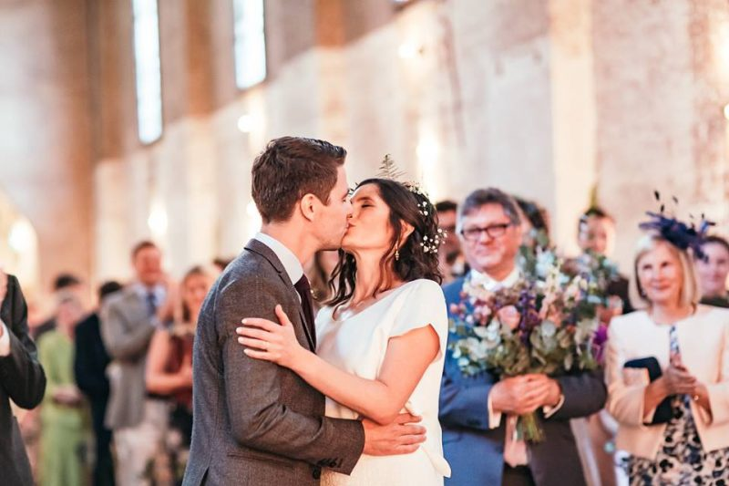 4 devine-bride-wedding-planner-east-london-dilston-grove-dry-hire-warehouse-wedding-ceremony-first-kiss