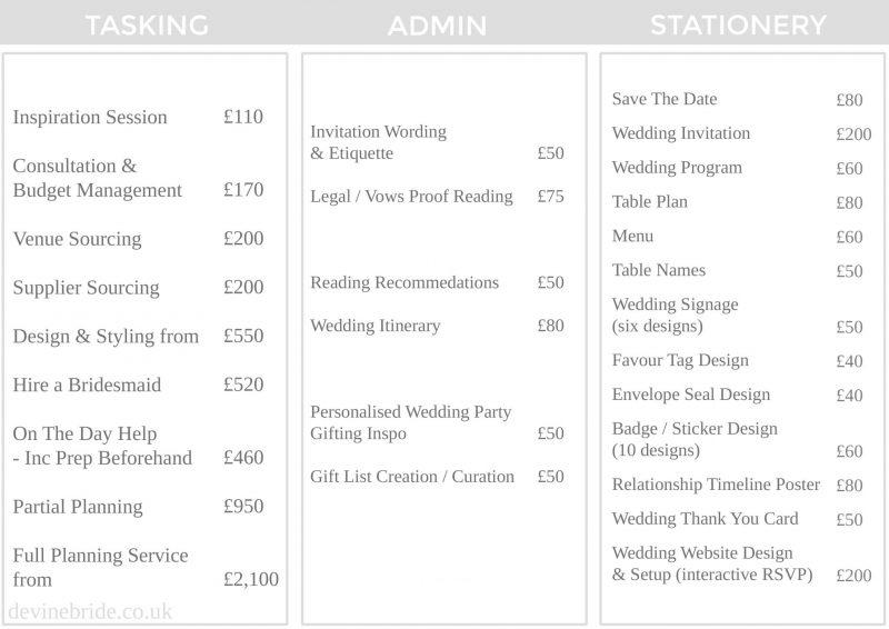 Devine Bride Services + Price List - Tasking Stationery Admin Wedding Tasker + Award Winning Blog Services page list 07.07.17