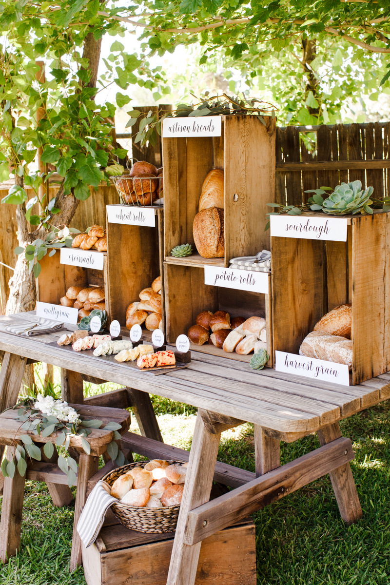 wedding décor tips food station bread station