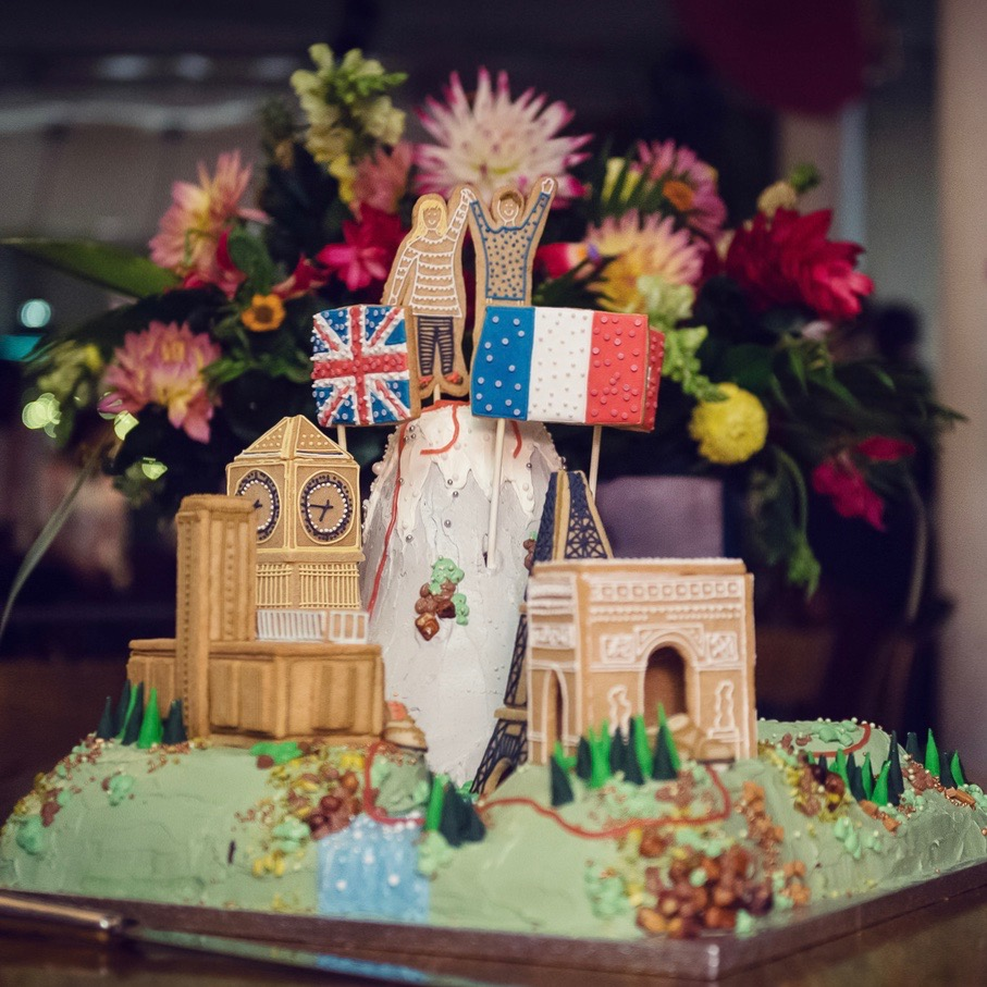Landscaped wedding cake with gingerbread landmarks