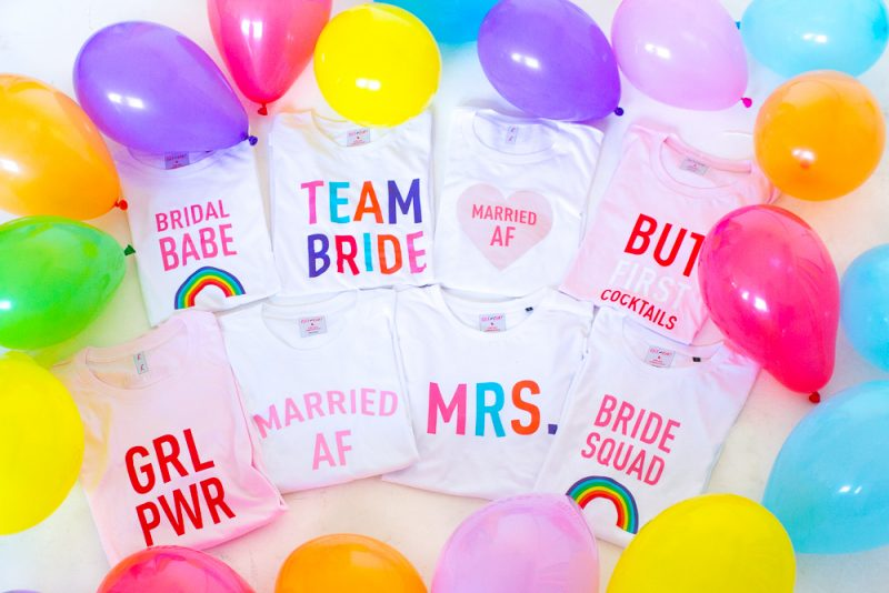 Hen Party T shirts tees Bachelorette Bridal Shower Fun Modern shirts Bespoke Bride Rock on Ruby Colourful Rainbow Bride Squad Team Bride Mrs Married AF-73