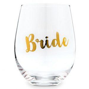 Bride Stemless Wine Glass – Metallic Gold