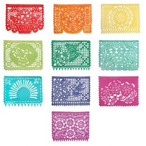 Large Mexican Papel Picado Plastic Bunting 'Spring' 5.5m