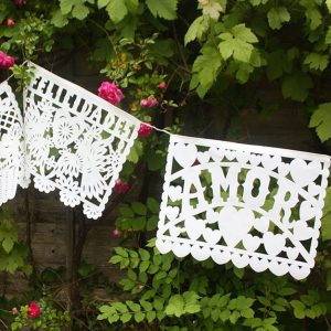 Large Mexican Papel Picado Plastic Bunting 'Amour' 5.5m