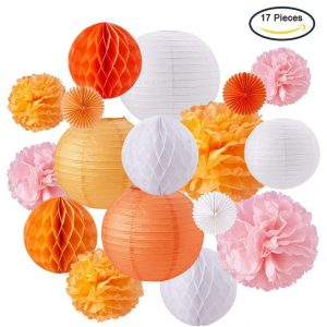Orange Coral Peach Pink Lanterns x 17