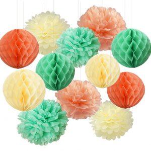 Mixed Peach + Mint Lanterns x 12
