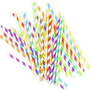 Rainbow Mix Paper Straws x 25