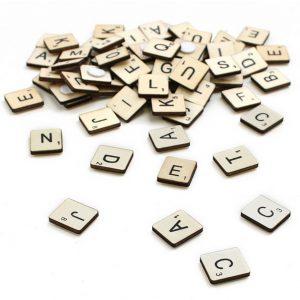 Wooden Scrabble Tiles 114pcs