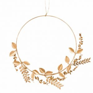 Gold Metal Leaf Wreath Wall Art 35×31