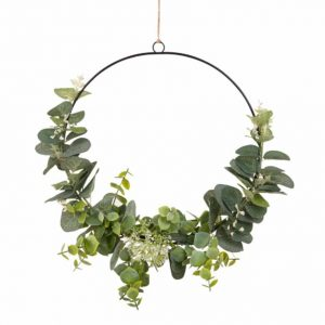 Metal and Artificial Leaf Wreath Wall Art 26×26