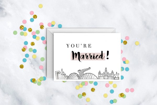 you're-married-glasgow-skyline-wedding-card