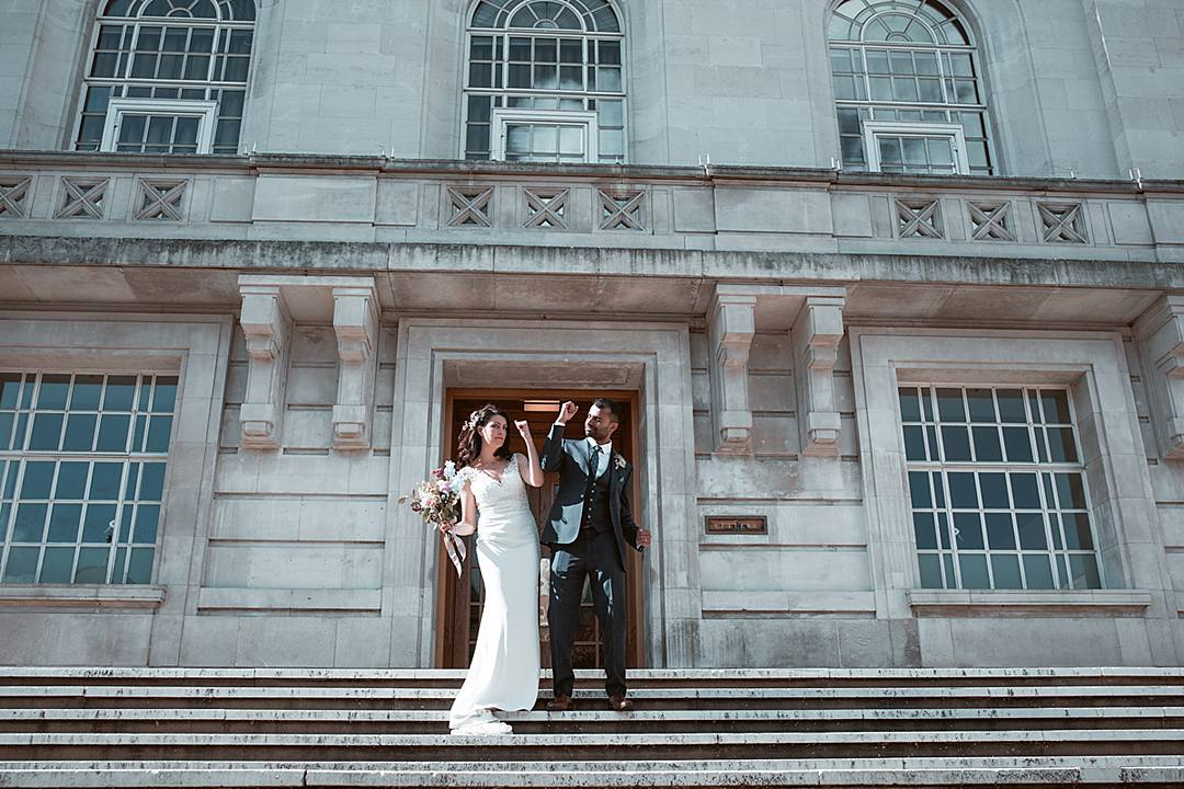 London Wedding, Devine Bride, Real Wedding, City Wedding, Hackney Town Hall, Chic Wedding, Fairy Lights, Polaroid Camera, Naked Cake