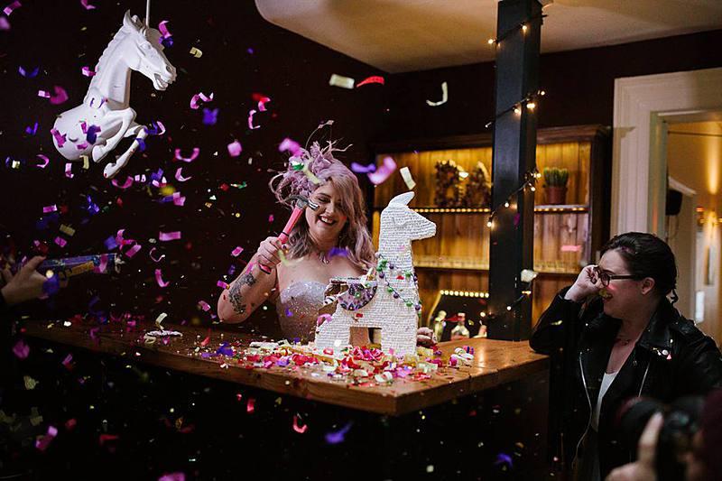 Devine Bride, Wedding Cake, Alternative Wedding Cakes, Wedding Desserts, Donut Wall, Pancake Wedding Cake, Confetti Balloons, London Weddings, Remain in the Light Photography, Wedding Pinata, Sweet Cake, Rainbow Cake, Cake Tower, UK Wedding Planner, London Wedding Planner, City Weddings, Alternative Weddings, Wedding Balloons