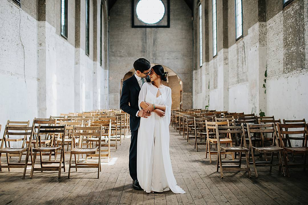 Devine Bride, London Wedding, City Wedding, Devlin Photos, Contemporary Wedding, Industrial Wedding, Classic Crockery, Real Wedding. 2019 Wedding Trends, Dilston Grove, Chic Wedding Decor, Pesh Flowers Stylish Dry Hire London Wedding with Eucalyptus and a Lion Dance