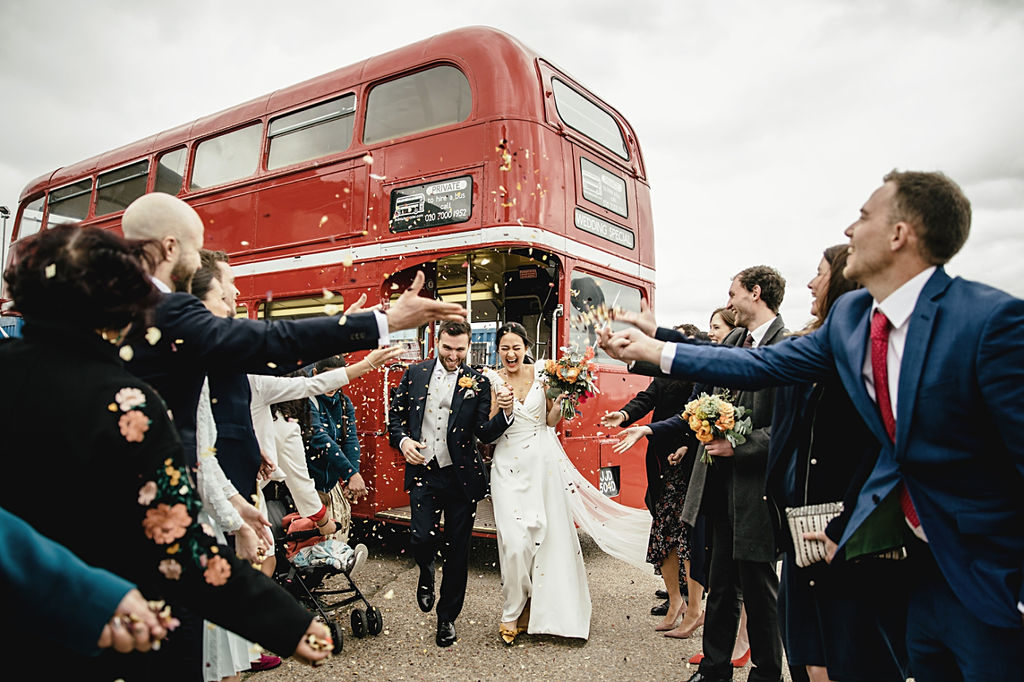 A contemporary and cool wedding at Trinity Buoy Wharf confetti shot