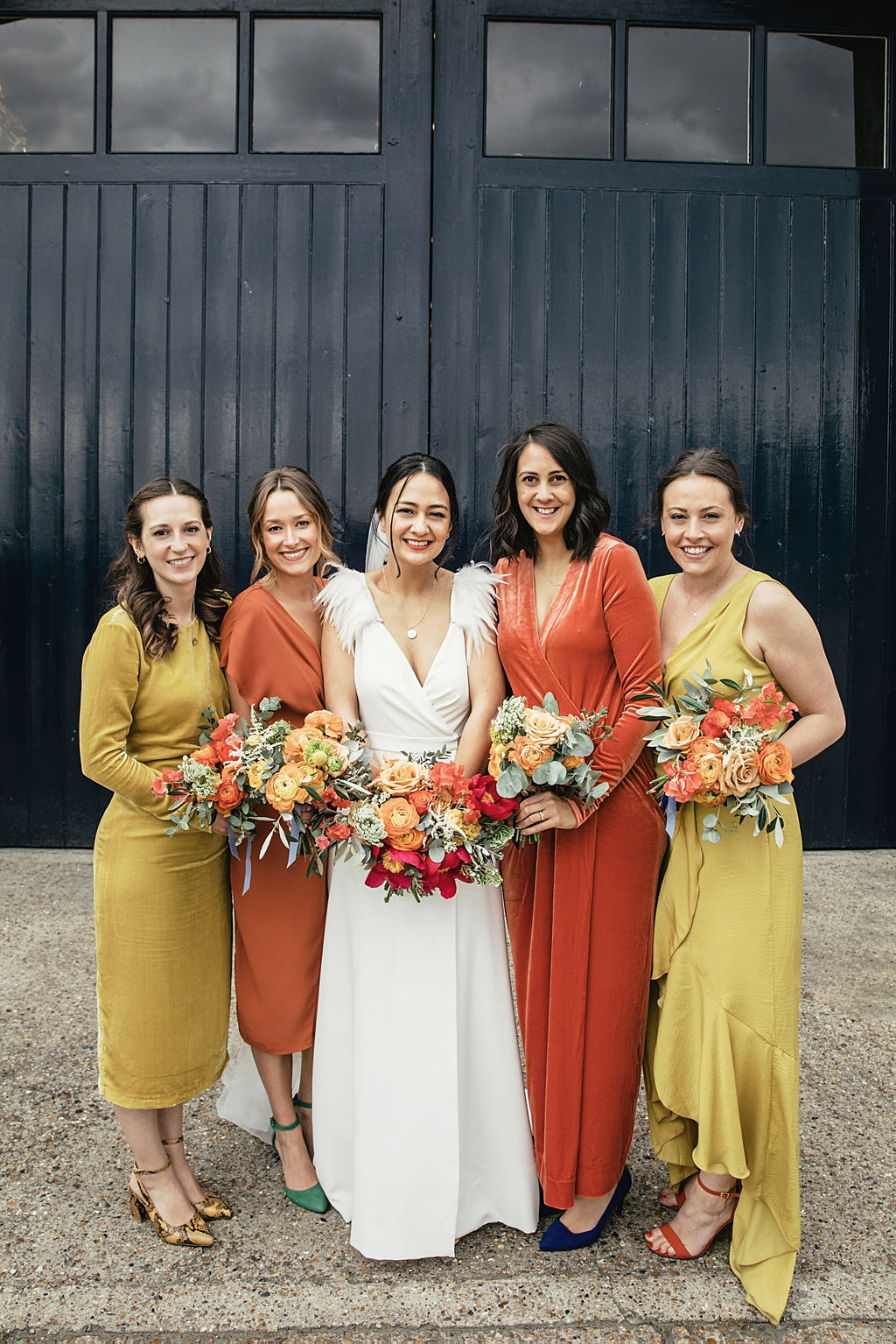A contemporary and cool wedding at Trinity Buoy Wharf bride and her bridesmaids