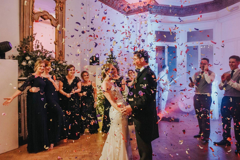alternative confetti shot confetti photo first dance