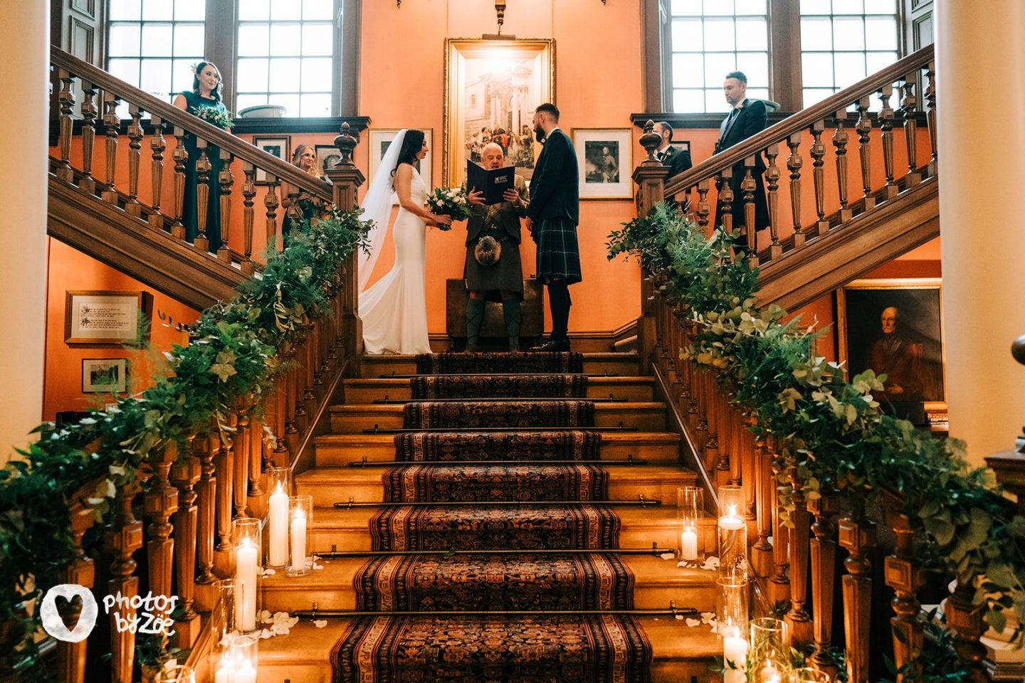 cosy country house wedding, cosy wedding, wedding on the stairs, ceremony on the stairs, humanist wedding