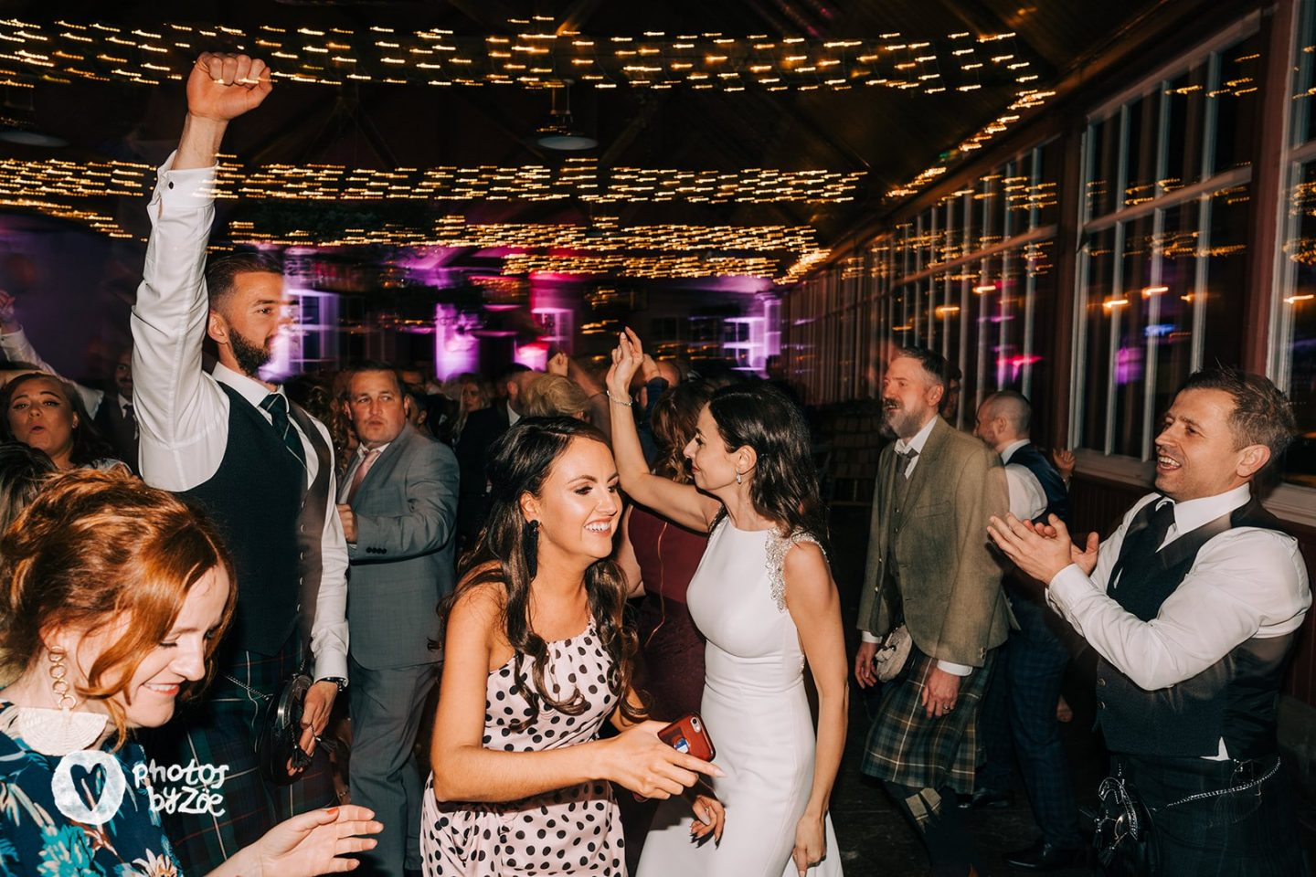 cosy country house wedding, dancefloor, fairy lights