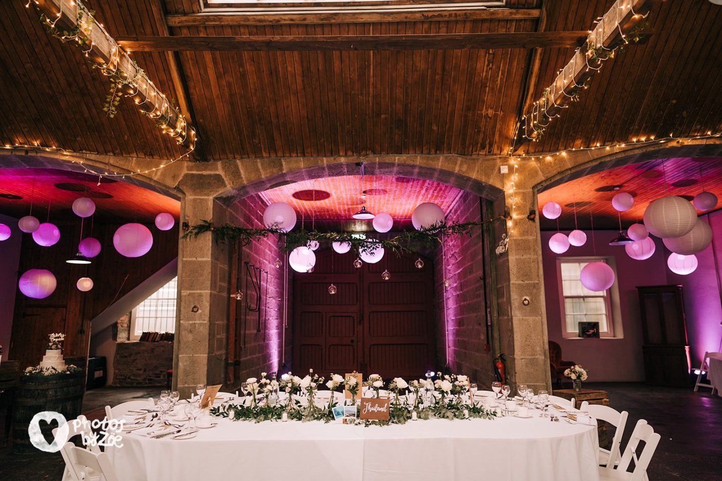 cosy country house wedding, barn wedding, hanging lanterns, errol park estate,
