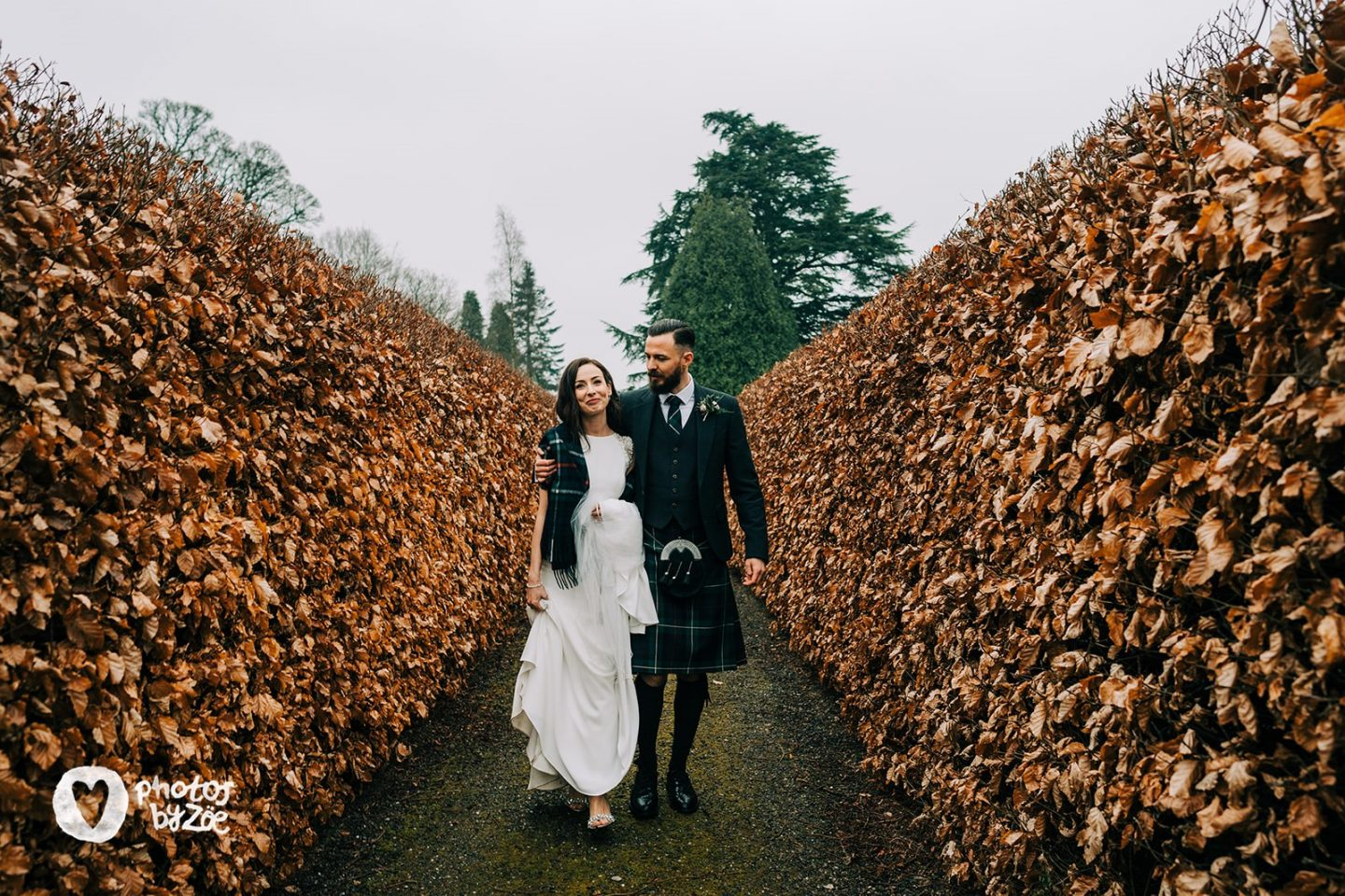 autumn wedding, scottish wedding, kilt, bride, groom
