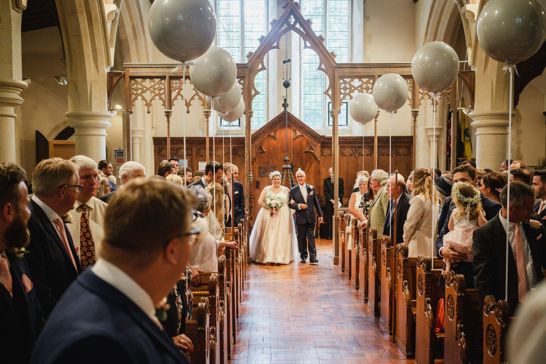 Bubblegum Balloons Wedding Decor, church ceremony