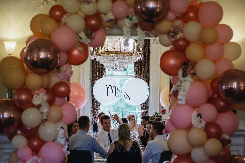 Bubblegum Balloons Wedding Decor, Buxted Park wedding breakfast