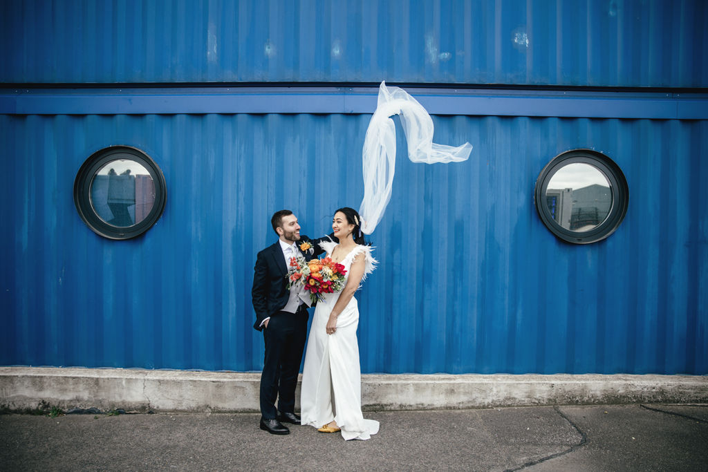 A contemporary and cool wedding at Trinity Buoy Wharf veil picture