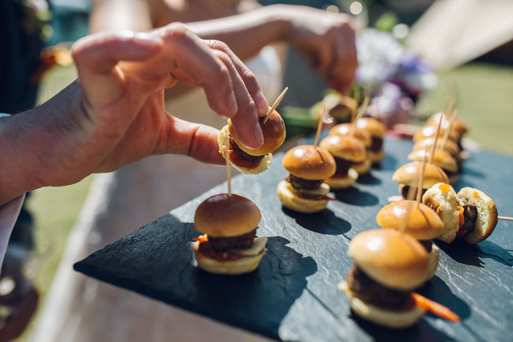 Boho Tipi Wedding with Alpacas canapes mini burgers