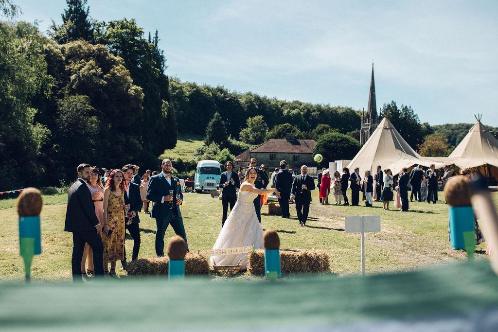 Boho Tipi Wedding with Alpacas retro garden games