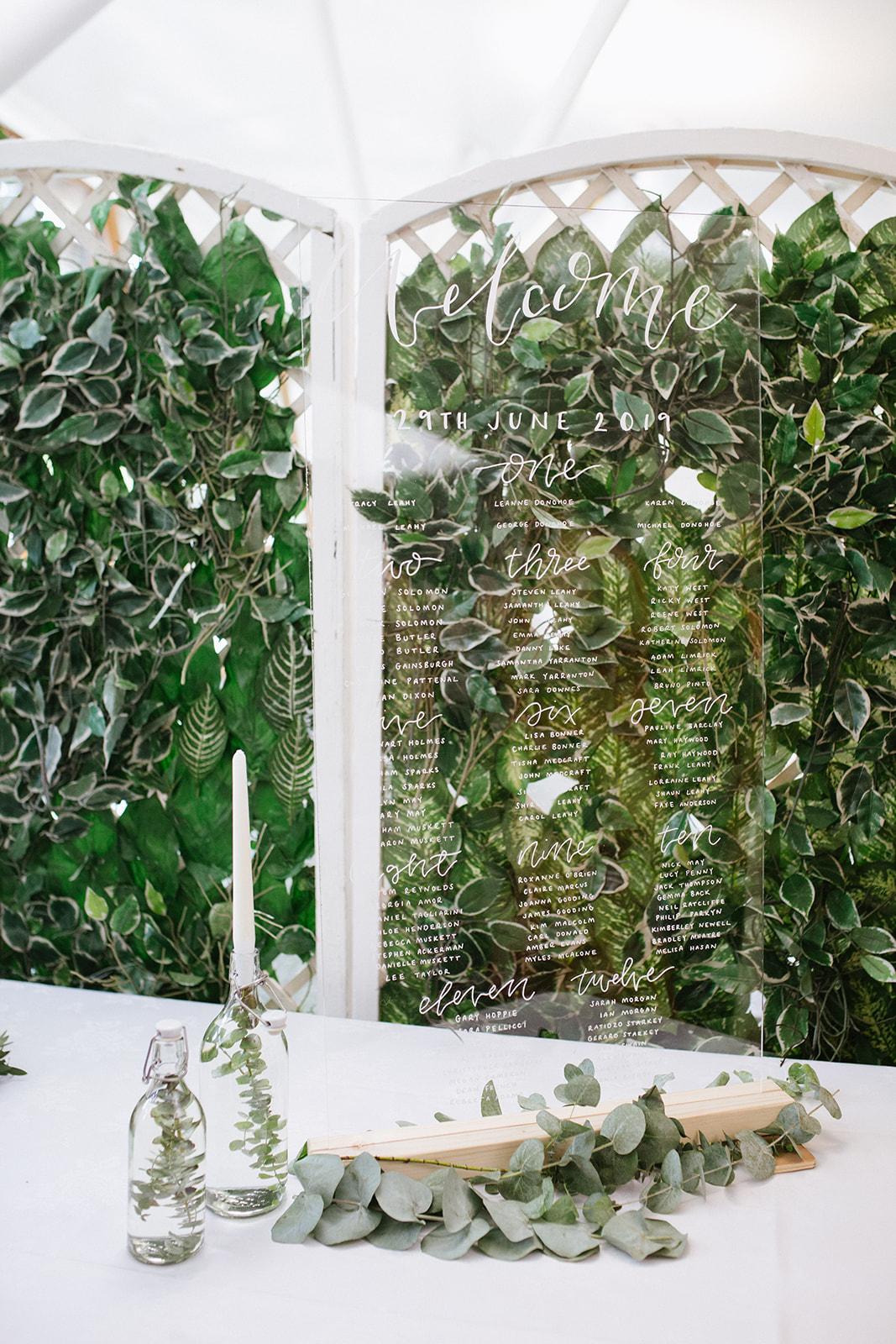 Hackney Wedding Mile End Ecology Pavilion Perspex Table Plan