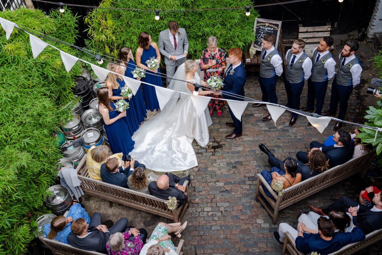 outdoor ceremony pub wedding