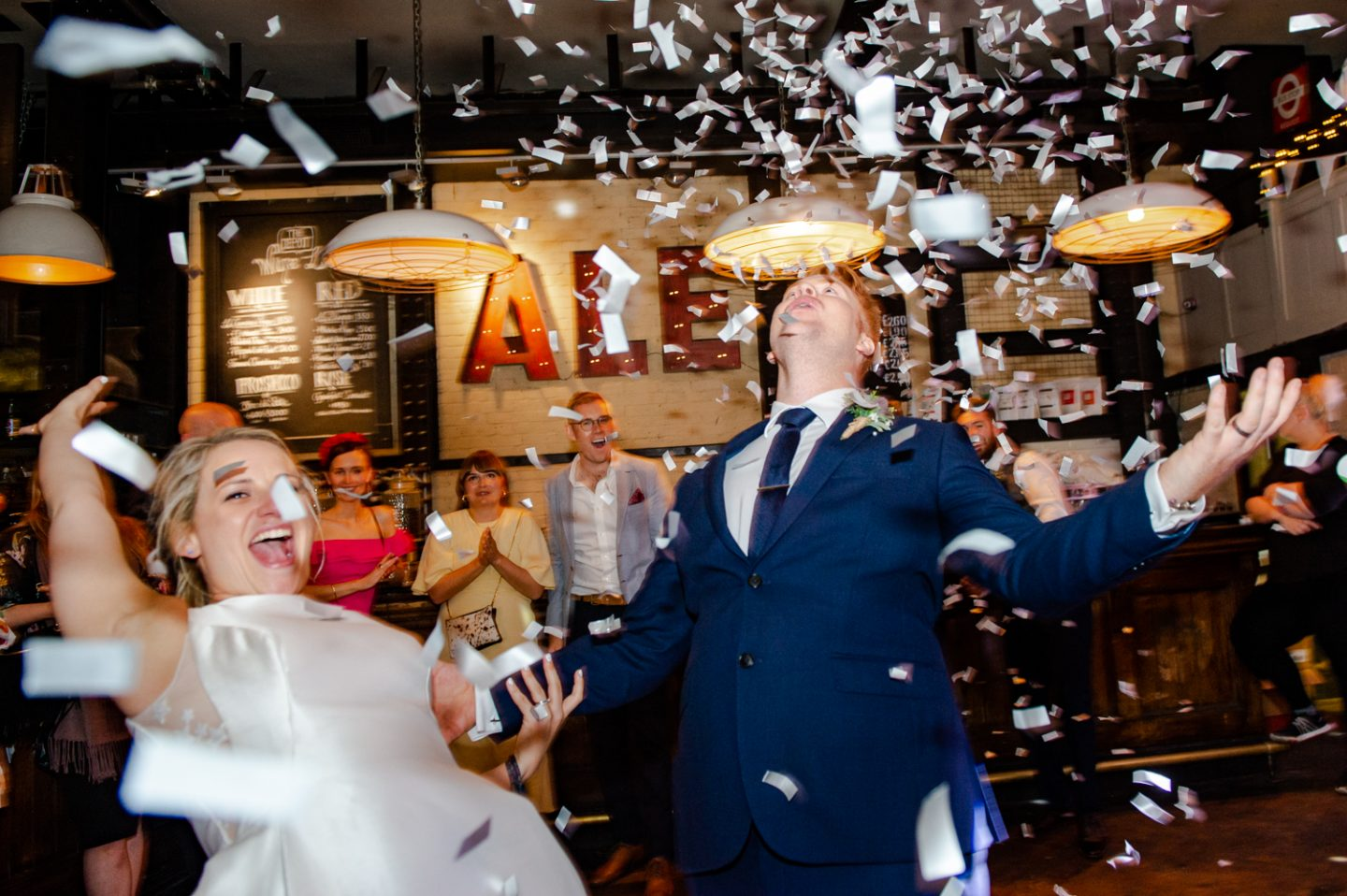 The Depot N7 London Pub Wedding confetti cannons first dance