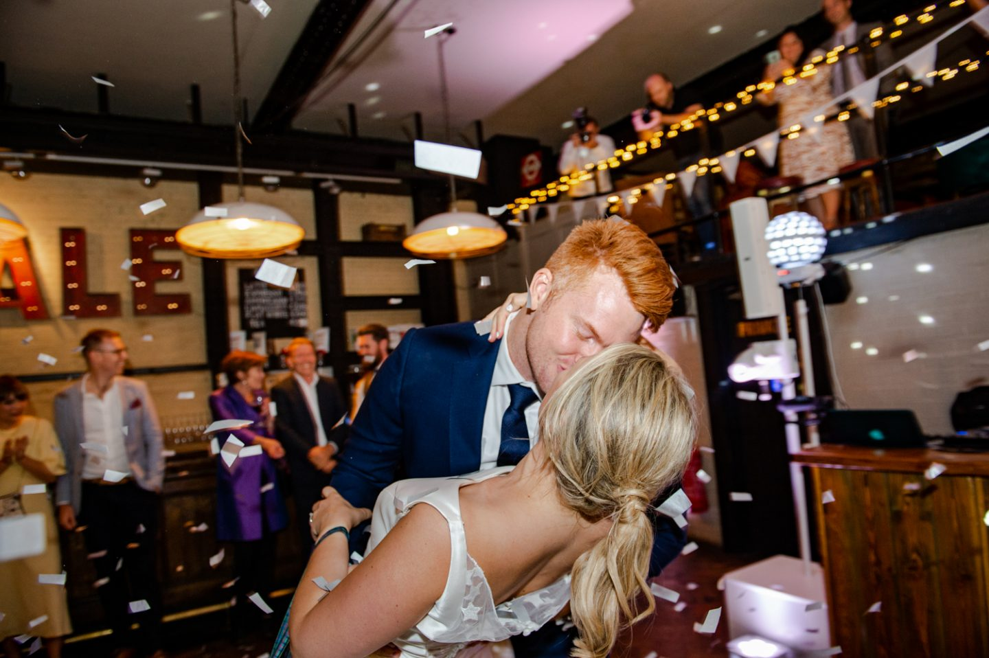 The Depot N7 London Pub Wedding first kiss confetti cannon first dance