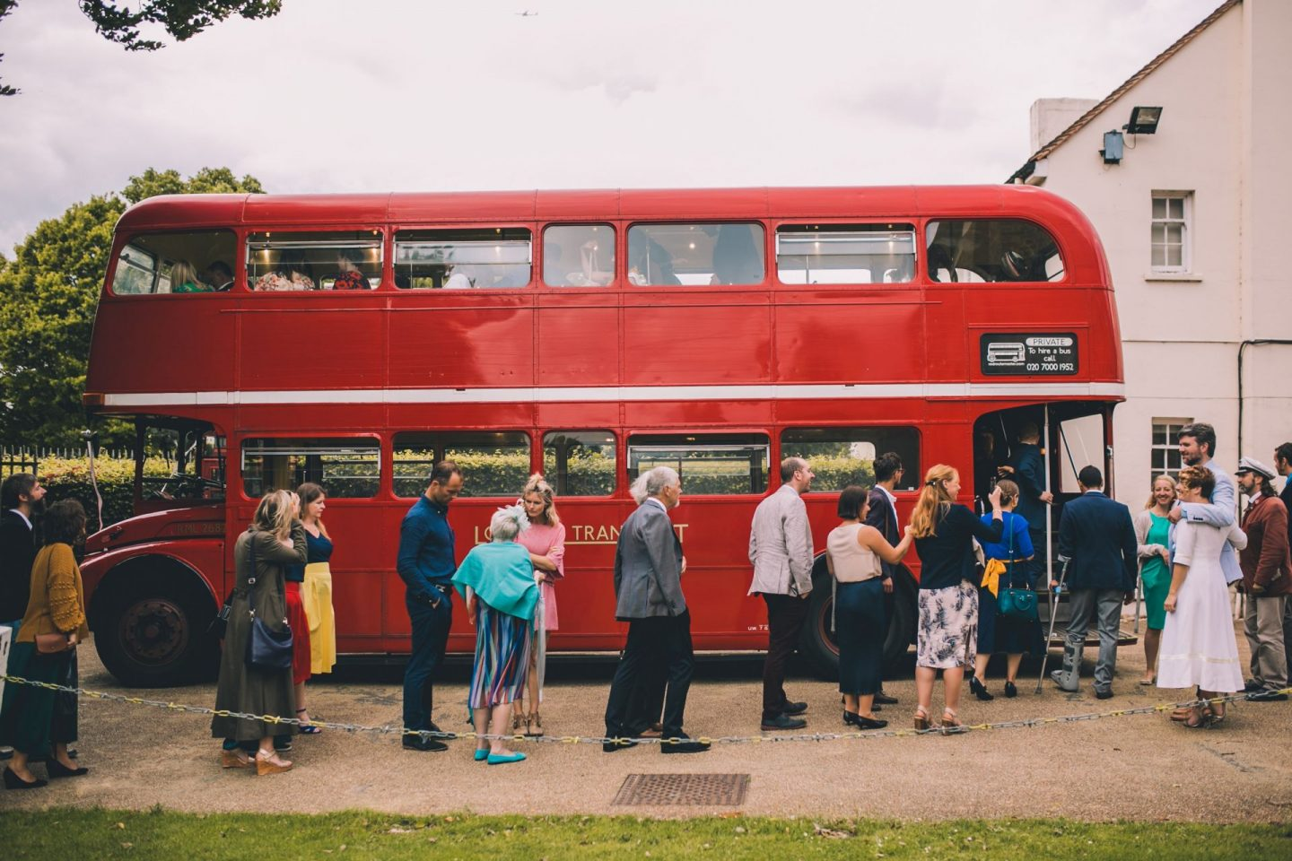 aisle wedding decor - dulwich picture gallery red routemaster