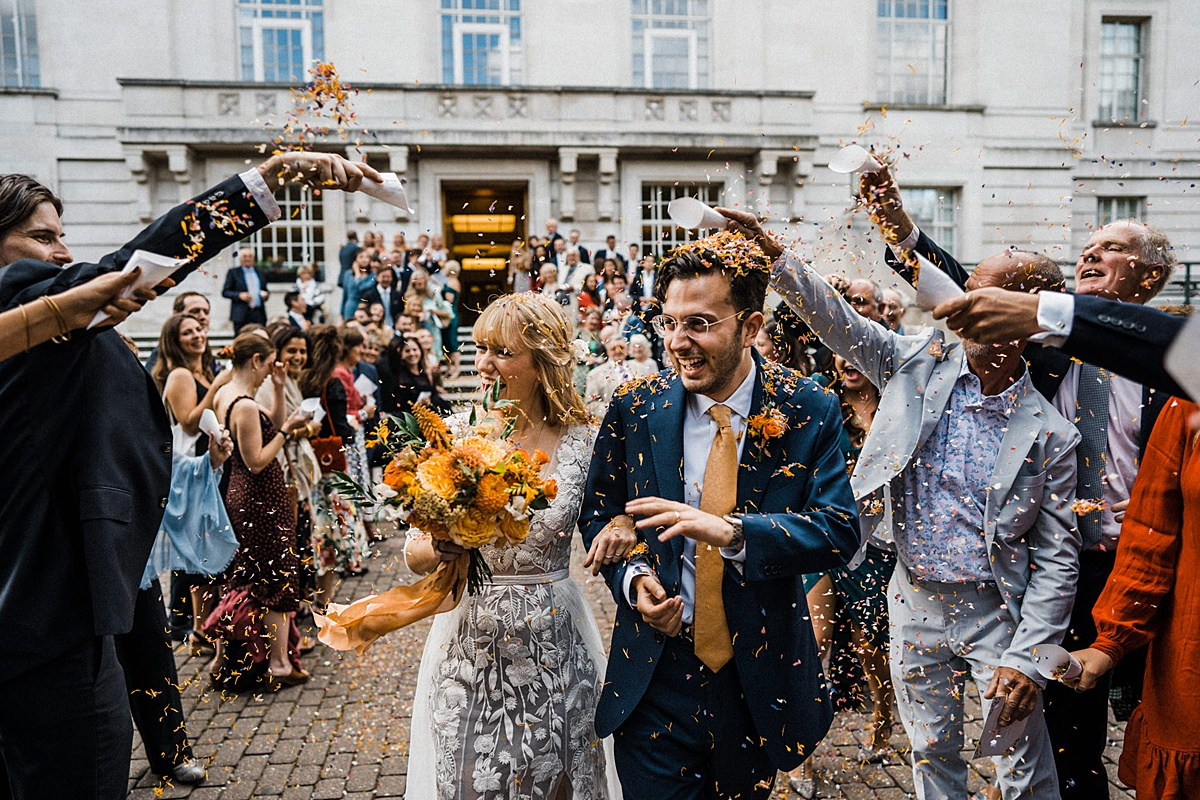 Hackney Town Hall Wedding The Atria confetti exit