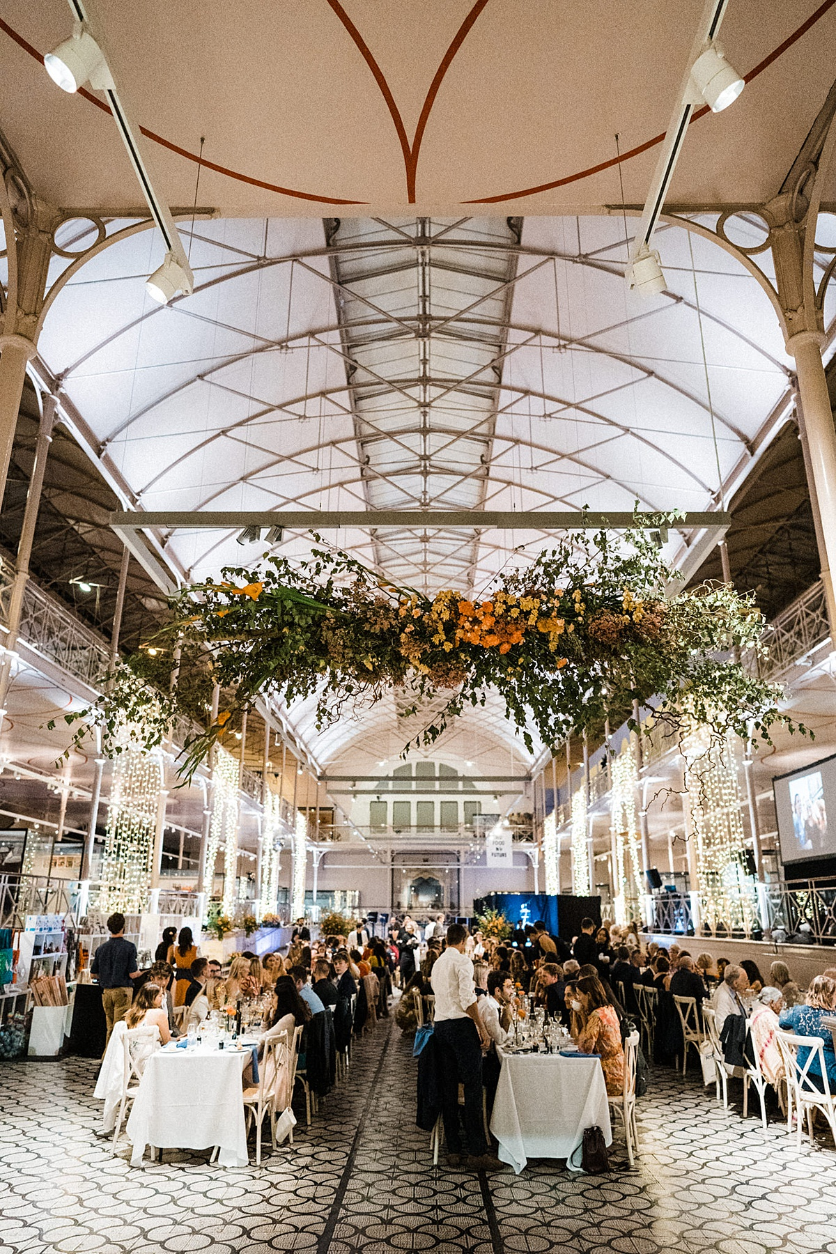 V&A Museum of Childhood wedding East London trestle tables wedding breakfast floral instalation