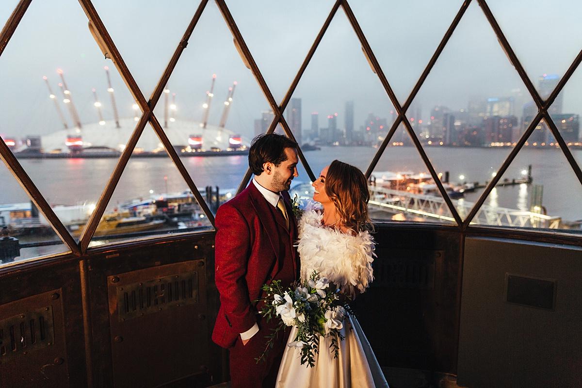 NYE Wedding Trinity Buoy Wharf lighthouse veiw