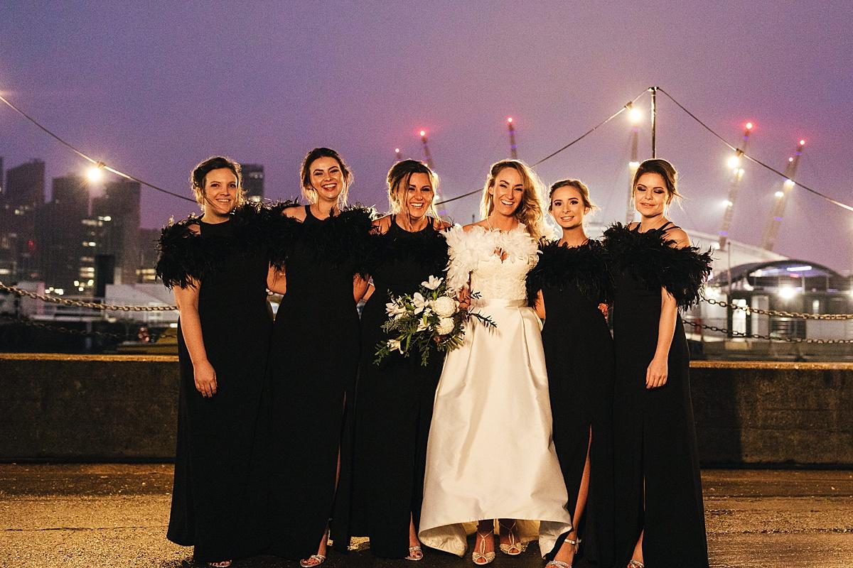 NYE Wedding Trinity Buoy Wharf Bridesmaids