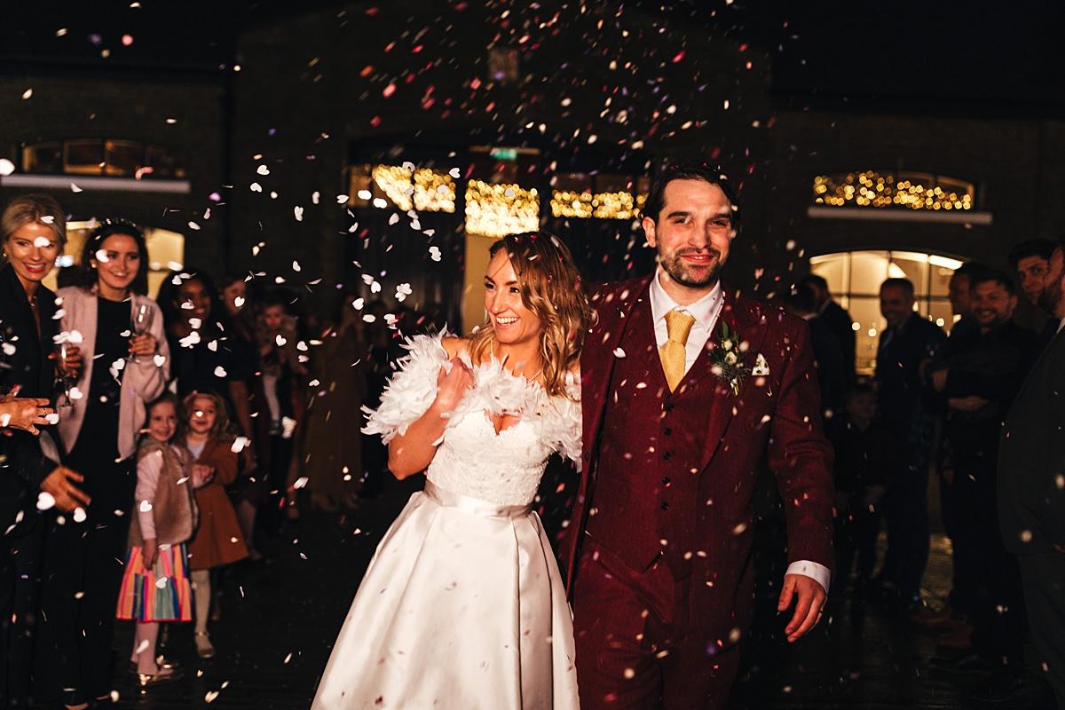 NYE Wedding Trinity Buoy Wharf confetti shot