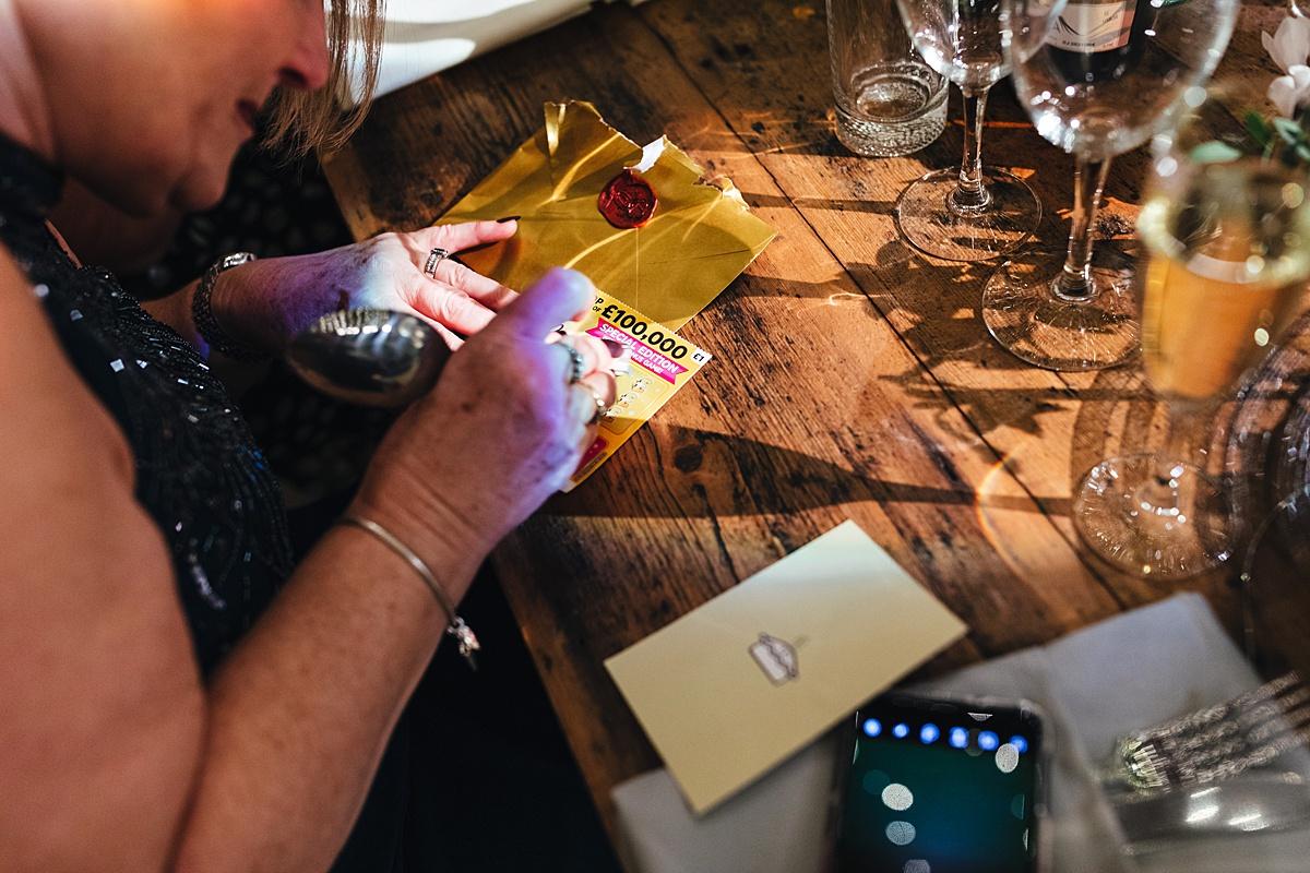 NYE Wedding Trinity Buoy Wharf favours scratchcards