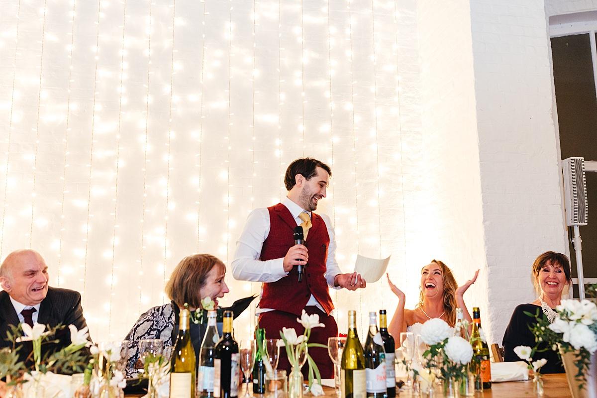 NYE Wedding Trinity Buoy Wharf grooms speech